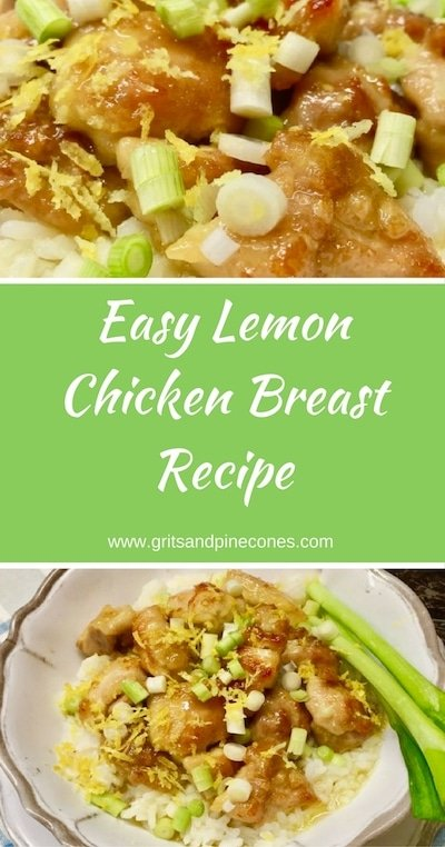 This Easy Lemon Chicken Breast Recipe with crispy chicken smothered with luscious lemon curd is perfect for a quick weeknight meal and is a family favorite.   #easylemonchicken, #lemonchicken