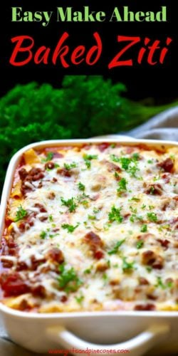 Easy Make Ahead Baked Ziti Pinterest Pin