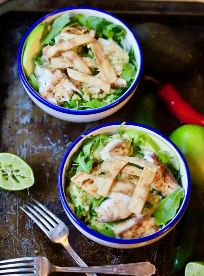 Grilled Fish Taco Bowl with Green Apple Guacamole ready to serve