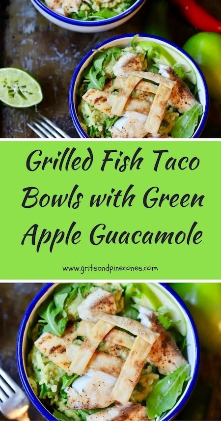 If you like grilled fish tacos, you will love my healthy, low-calorie, quick and easy Grilled Fish Taco Bowls with Green Apple Guacamole! #fishtacos, #tilapiarecipes, #tacoseasy, #guacamole, #guacamolerecipe, #guacamoleeasy, #guacamolehealthy, #fishrecipes, #tacorecipes