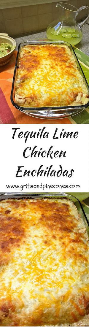 Tequila Lime Chicken Enchiladas features chicken marinated in tequila, lime juice, and brown sugar in a tortilla with cheese and salsa verde.