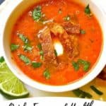 Pinterest pin for tomato tortilla soup.