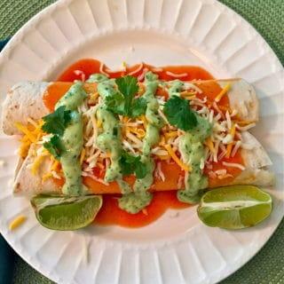 Avocado Lime Chicken Enchiladas
