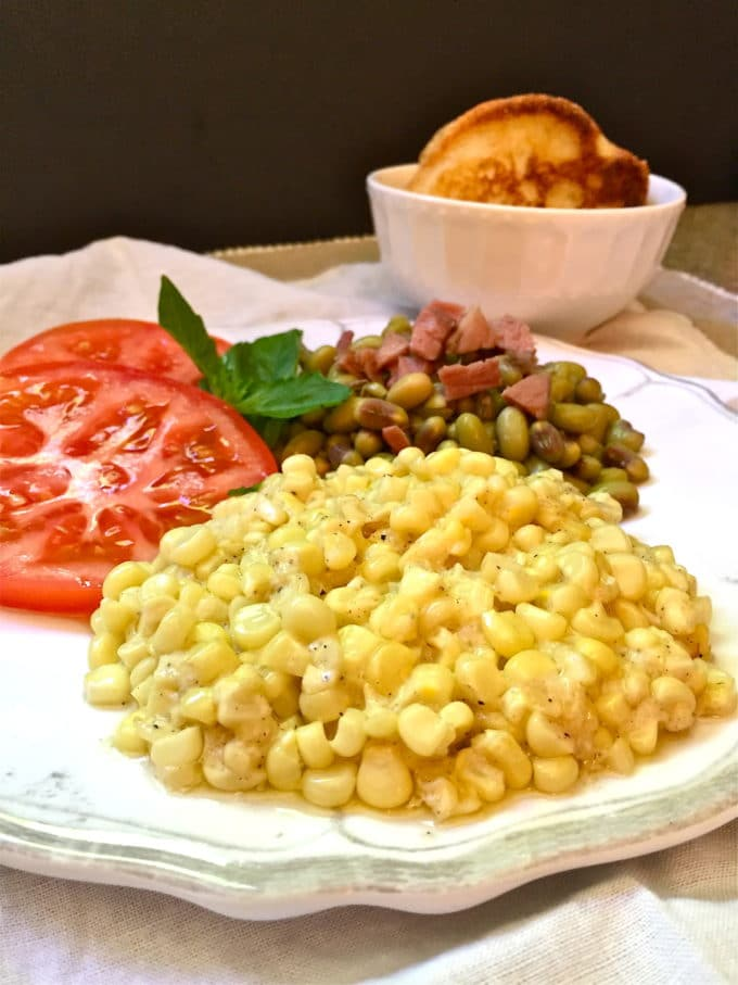 A serving of Southern Homemade Creamed Corn