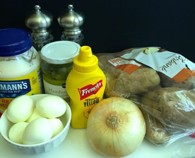 Southern Potato Salad ingredients including potatoes, mayonnaise, mustard, eggs and pickles