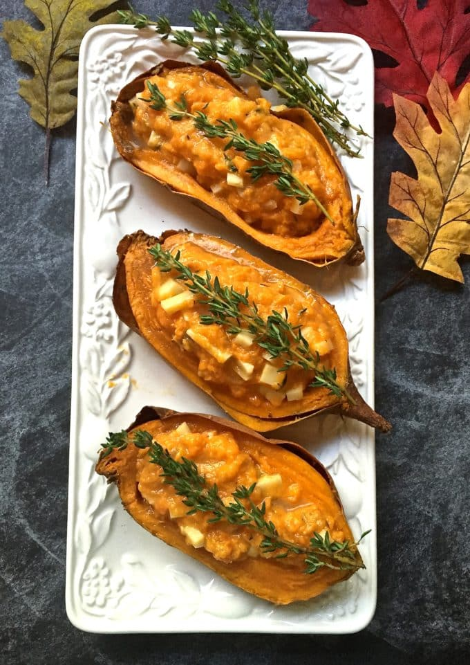 Easy Twice Baked Sweet Potatoes ready for Thanksgiving
