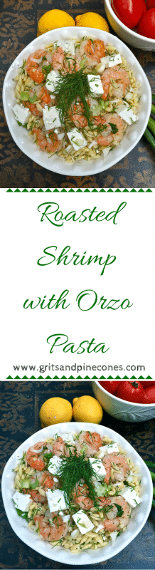 Tender, juicy roasted shrimp, tossed with orzo pasta, mixed with fresh dill, parsley, scallions, and a yummy lemony vinaigrette dressing, and topped with tangy feta cheese.