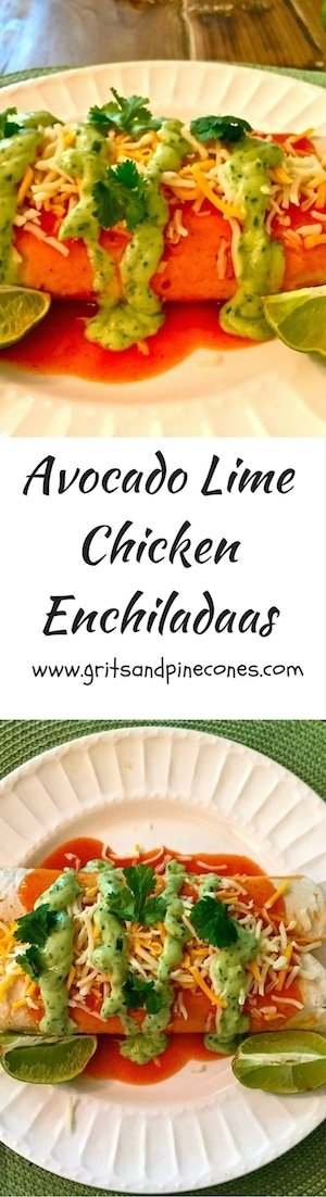 Avocado Lime Chicken Enchiladas are filled with shredded seasoned chicken, lots of melty Monterey Jack cheese and topped with a scrumptious avocado-lime sauce.