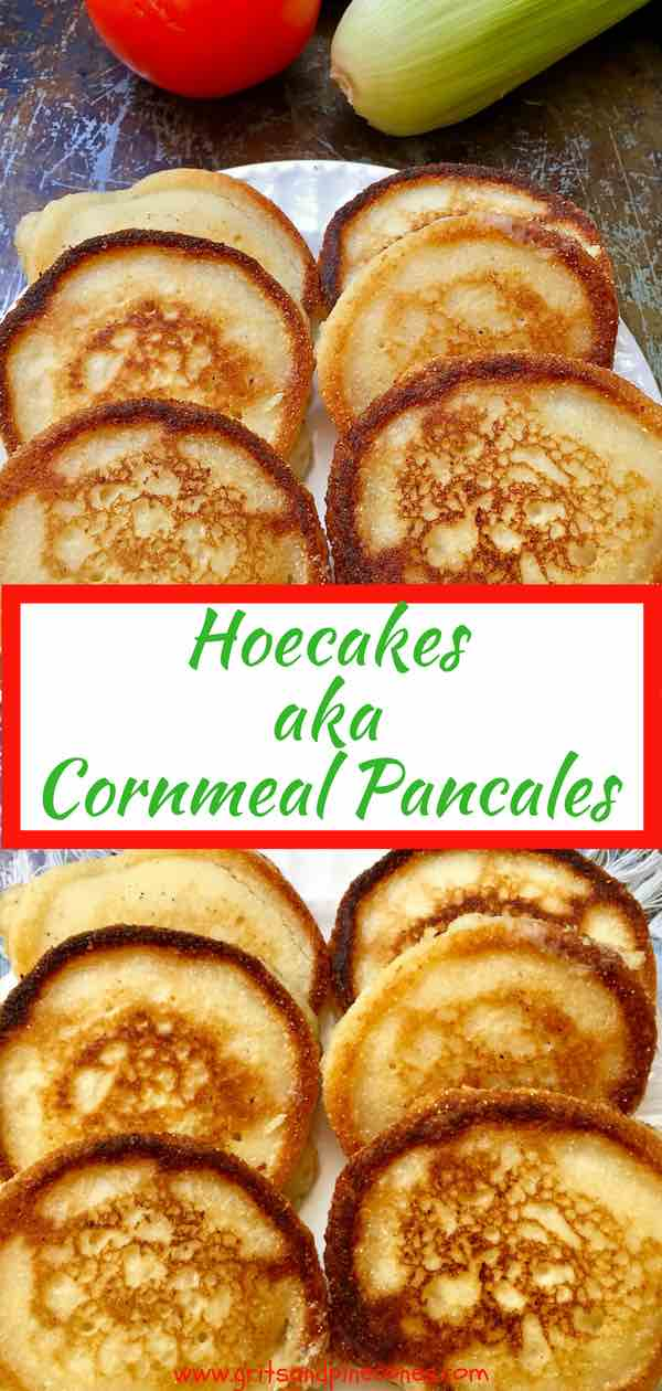 Quick and easy Hoe Cakes aka Cornmeal Pancakes are versatile little yellow miracles of crispy warm deliciousness! They can be served any time of day straight out of the skillet, but for breakfast, they ascend into the stratosphere of deliciousness with the addition of blackberry or maple syrup.  #southernfood, #southernrecipes, #hoecakes, #cornmealpancakes