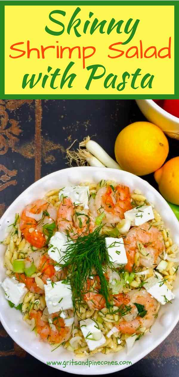 Easy Shrimp Salad with Pasta is tender, juicy, roasted shrimp, tossed with orzo pasta, fresh dill, parsley, scallions, and a yummy lemony vinaigrette dressing, and then topped with tangy feta cheese. It will knock your socks off! This cold, healthy, shrimp, orzo, feta recipe is the stuff dreams are made of! #shrimpsalad, #roastedshrimp, #healthyshrimprecipes, #shrimprecipes, #easyshrimpsalad