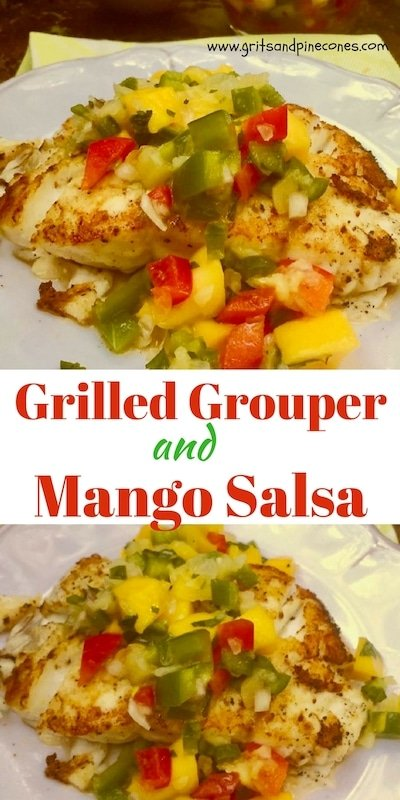 Grilled Grouper and Mango Salsa is the perfect dinner entrée!  This fresh seafood recipe is healthy, low in calories and chock full of vitamins and all things good for you, and the sweet and spicy mango salsa is full of colorful fresh fruit and vegetables and is out of this world delicious!