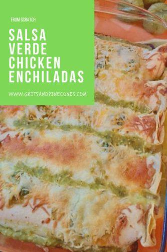 Pinterest pin for salsa verde chicken enchiladas.