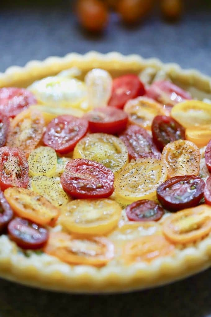 Southern Style Cherry Tomato Pie ready to bake
