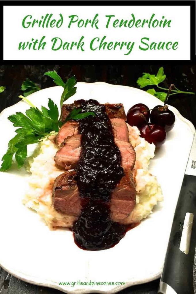 Grilled Pork Tenderloin with Dark Cherry Sauce is a quick and easy grilled pork tenderloin recipe, with pork tenderloin topped with a dark cherry glaze, grilled and then topped with a sweet/savory delectable sauce made with dark sweet cherries, cherry preserves, shallots and balsamic vinegar. Make it tonight!
