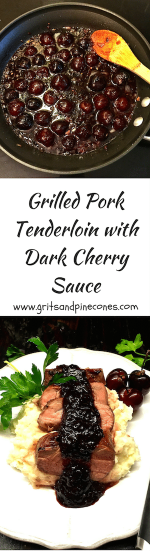 Delicious Grilled Pork Tenderloin with Dark Cherry Sauce would be perfect for a romantic Valentine's Day dinner with your sweetheart!