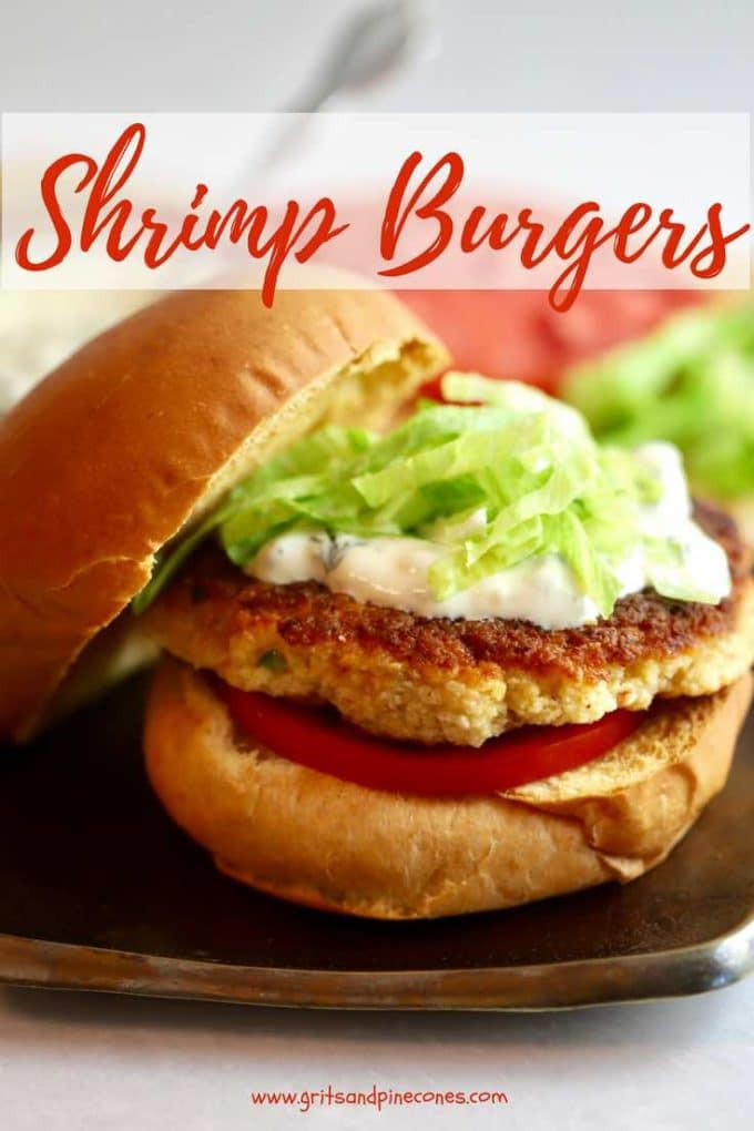 Summertime brings to mind hamburgers on the grill, but how about a scrumptious change of pace with shrimp burgers? Just imagine tender, juicy Gulf shrimp made into a patty and topped with yummy basil pesto aioli, and you have one awesome Shrimp Burger with Basil Pesto Aioli. Make them today! #dinnerrecipe, #dinner, #easyrecipe, #shrimp, #seafood, #lunch