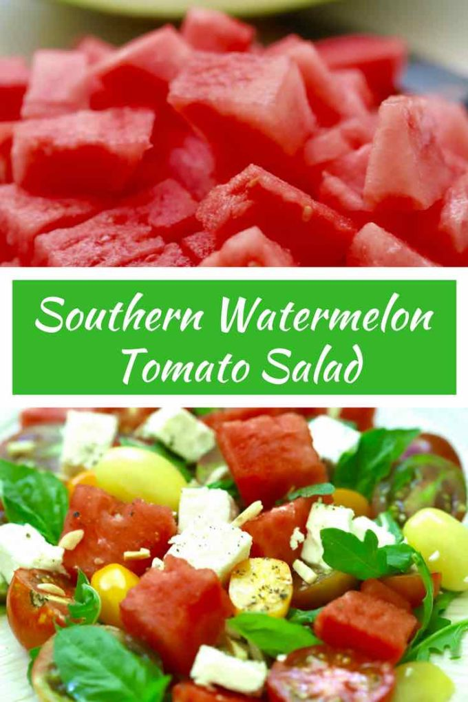 Full of summer's bounty with fresh juicy sweet watermelon, wonderful summer tomatoes and tangy feta cheese, this delightfully quick and easy Southern Watermelon Tomato Salad is ideal for your summer cookouts, BBQs, potlucks, and weeknight meals. It's the perfect summer side salad for any occasion. #watermelon, #watermelonrecipes, #watermelonsalad