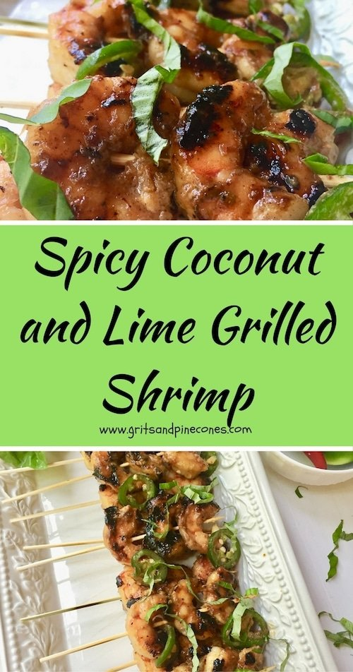 Tender, flavorful and healthy Spicy Coconut and Lime Grilled Shrimp will rock your world. Full of coconut and lime flavor, this delicious shrimp is easy and quick to prepare.  #shrimprecipes, #easyshrimprecipes, #healthyshrimprecipes, #grilledshrimp, #coconutshrimp, #appetizerrecipes, #appetizers, #limeshrimp