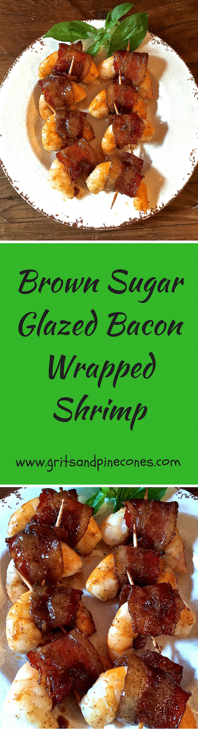 Check out these delicious and easy Brown Sugar Glazed Bacon Wrapped Shrimp. Whether you are looking for an appetizer for a party, finger food, or simply want to serve shrimp for dinner, these salty/sweet bacon wrapped shrimp are perfect!