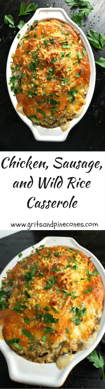 Chicken, Sausage, and Wild Rice Casserole is quick and easy to prepare, can be made ahead of time, freezes beautifully, and is delicious!