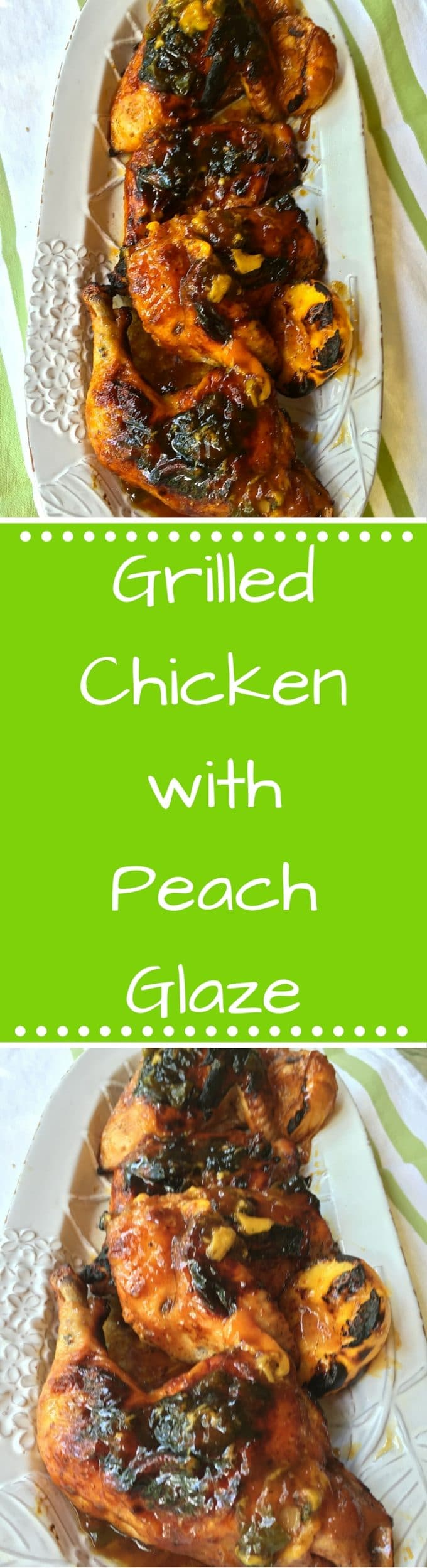 This outrageously delicious Grilled Chicken with Peach Glaze is topped with a yummy sweet, and spicy glaze made with peaches, jalapenos, and peach preserves.