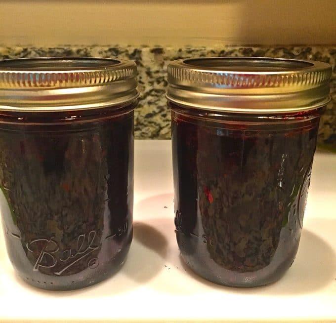 Two jars of Easy Microwave Blackberry Jam
