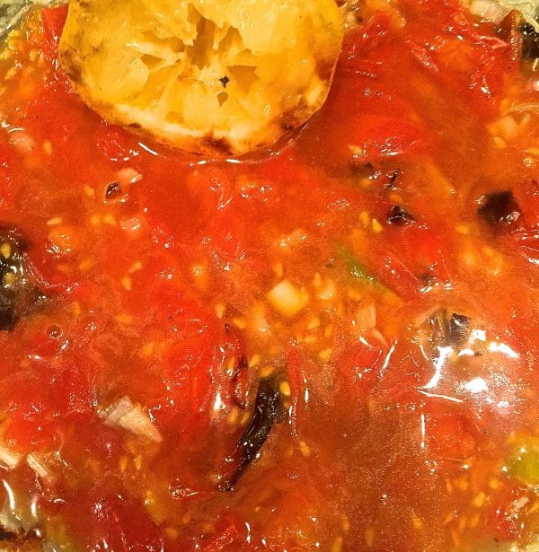 The tomato relish in a bowl.