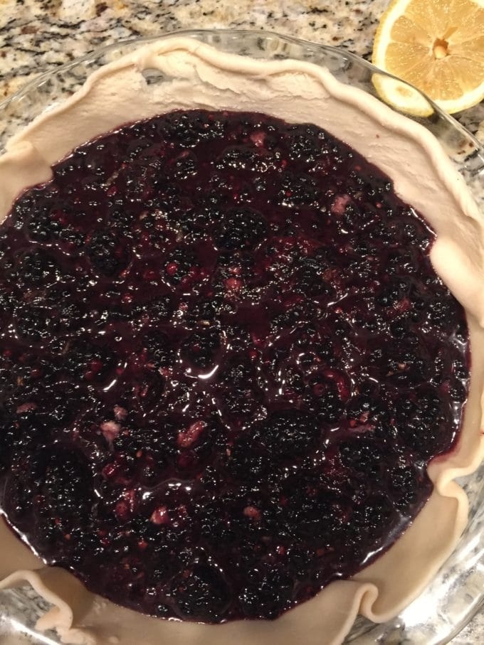 Classic Southern Style Blackberry Pie with filling poured into unbaked pie crust.