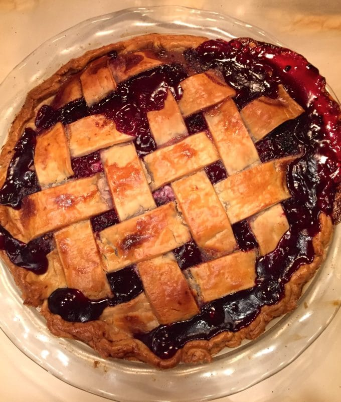 Classic Southern Style Blackberry Pie right out of the oven