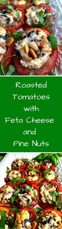 Roasted Tomatoes with Feta Cheese and Pine Nuts