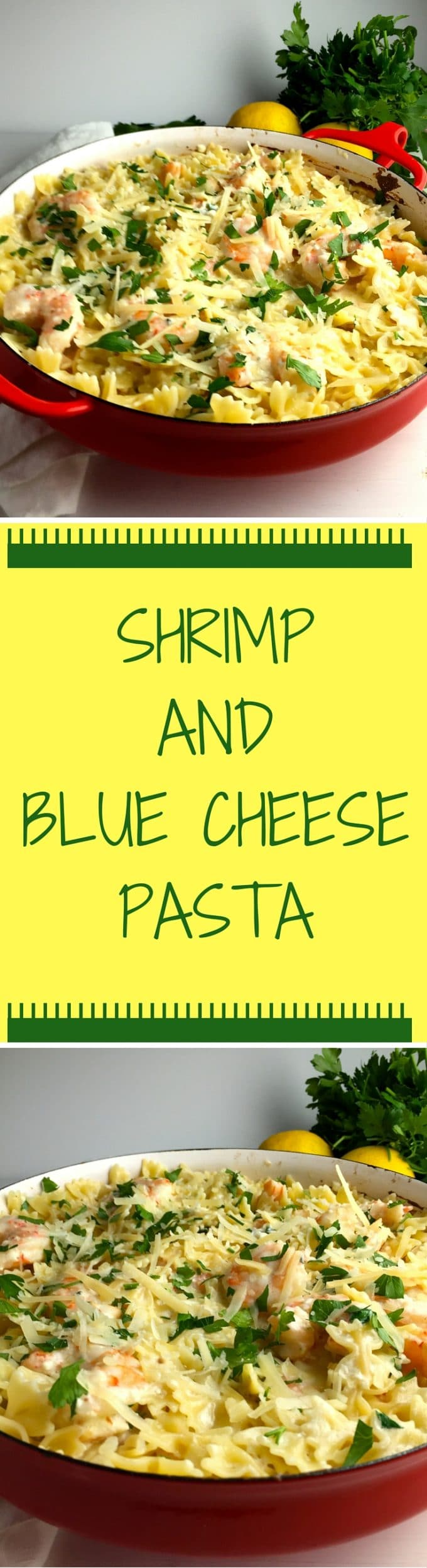 Shrimp and Blue Cheese Pasta is tender shrimp mixed with a decadent blue cheese sauce over yummy pasta covered with parmesan cheese.