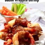 Pinterest pin for bacon wrapped shrimp.