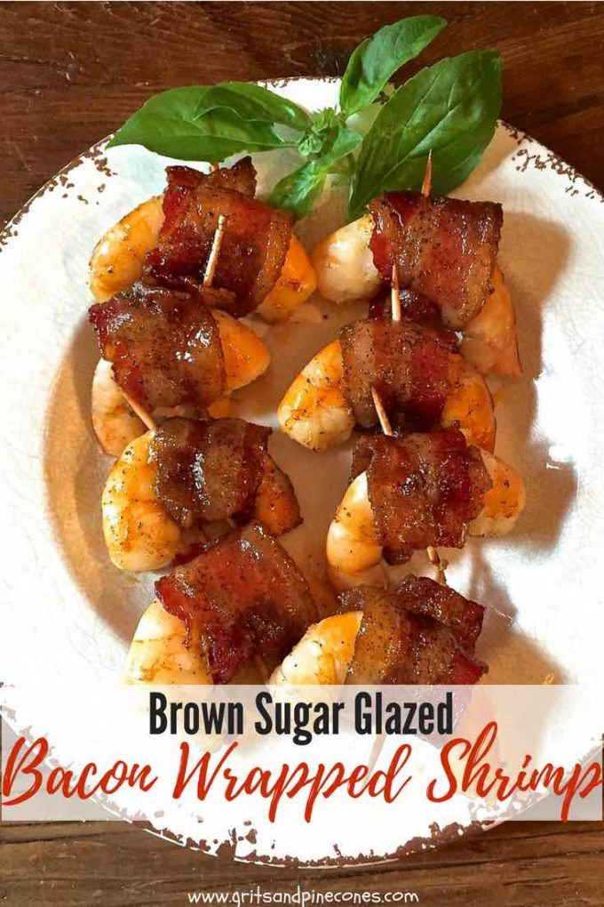 Check out these delicious and easy Brown Sugar Glazed Bacon Wrapped Shrimp. They are the ultimate appetizer or can also be served as an amazing entree! Perfect for a crowd for a game-day or holiday party or just a cozy evening for two! Try these salty/sweet bacon wrapped shrimp today! #appetizer, #snack, #football, #tailgating, #appetizer, #snack, #dinner, #dinnerrecipe, #easyrecipe, #shrimp, #easydinner