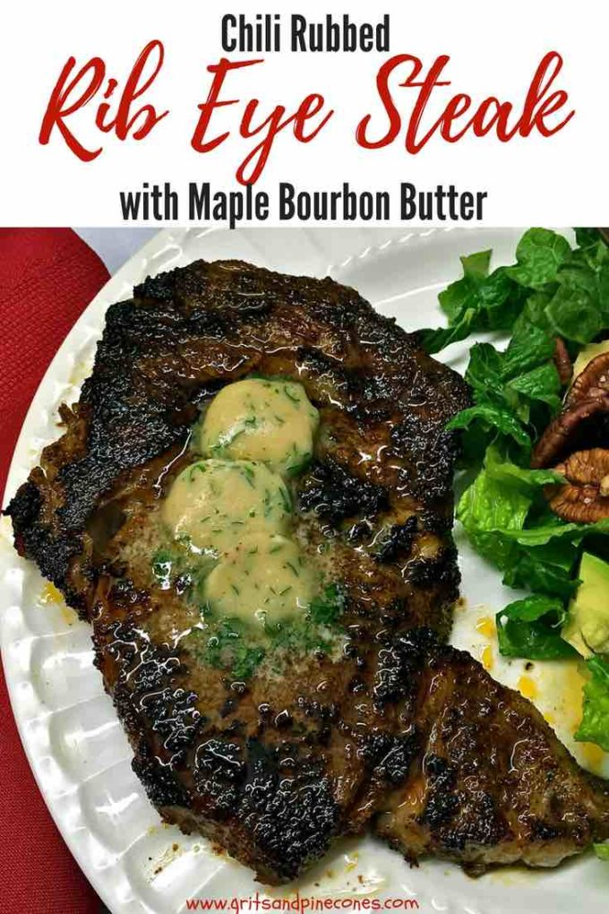 Is your mouth watering yet? Well, it should be! This delicious and decadent, Chili-Rubbed Ribeye Steak with Maple-Bourbon Butter is fancy enough for a dinner party, but it's also quick and easy enough for a weeknight dinner. And, to make it even easier, you cook the steak in a cast iron skillet, both on the stove and then to finish it up in the oven, so no firing up the grill! #dinner, #dinnerrecipes, #dinnerparty, #entertaining, #easydinner, #comfortfood, #steak, #beef, #easyrecipes