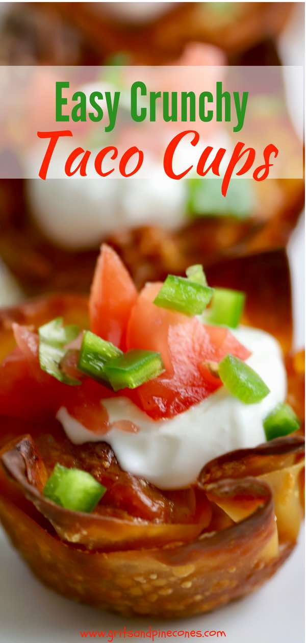 This recipe for Easy Crunchy Taco Cups is the answer to your Cinco de Mayo prayers and Mexican food cravings. Fun, quick, easy to make, and delicious to boot, these versatile, kid-approved, oven-baked taco cups with wontons are made with yummy ground turkey, taco seasonings, and melty cheese. Olé! #appetizers, #snacks, #easyrecipes, #backtoschool, #cincodemayo, #mexicanrecipes, #football, #tailgating