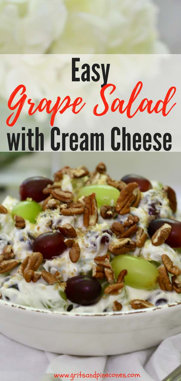 Easy Grape Salad with Cream Cheese recipe is quick, simple and delicious. Toasted pecans and brown sugar top this old-fashioned, make-ahead,