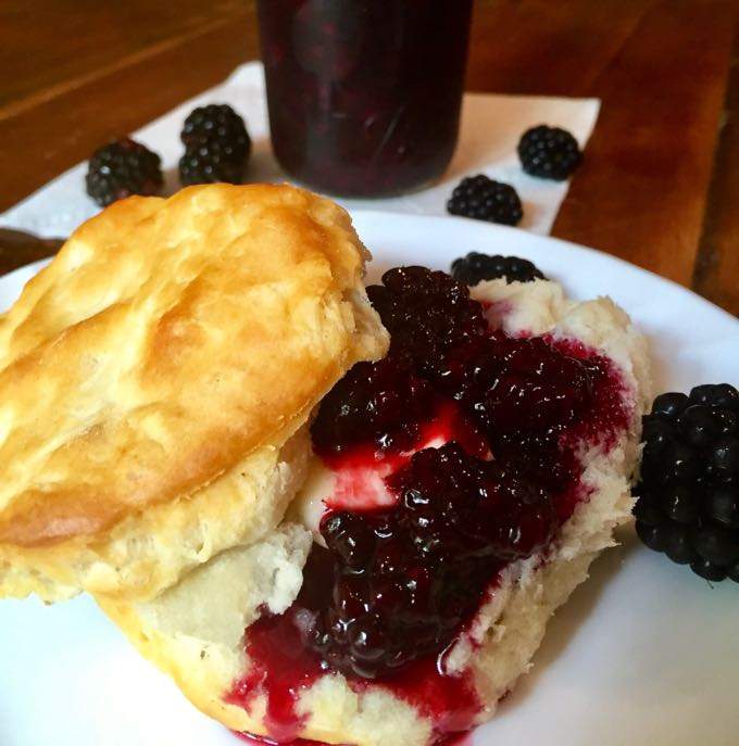 Easy Microwave Jam on biscuits