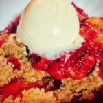 Homemade Peach and Blackberry Crumble