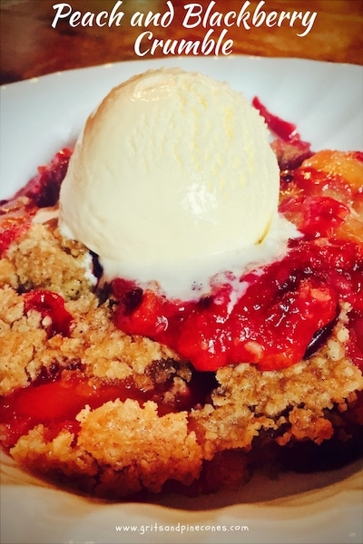 Easy homemade fresh Peach and Blackberry Crumble is full of fresh luscious peaches, juicy plump blackberries and topped with a yummy sweet crumble crust!