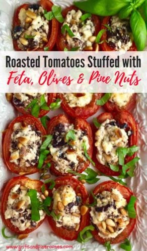 Roasted Tomatoes stuffed with Feta Cheese, Olives and Pine Nuts