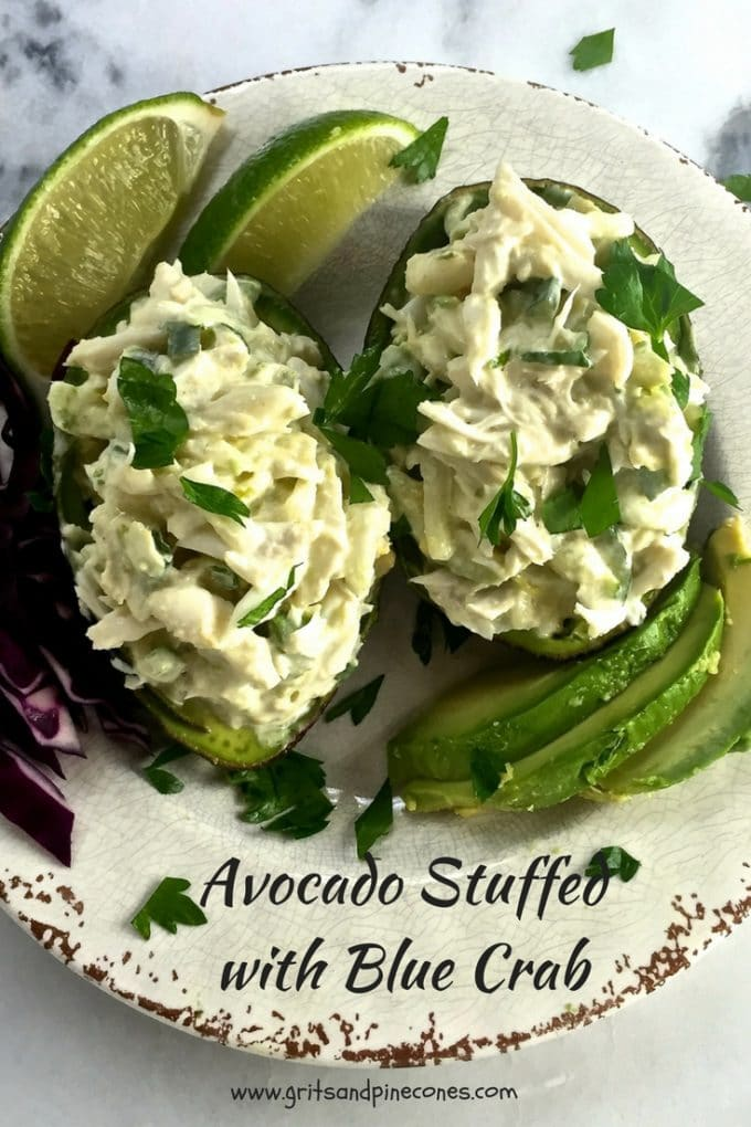 Delicious Avocado Stuffed with Blue Crab is healthy, light, and summery, with lump blue crab meat combined with avocado, cucumber, lime juice and jalapeno.