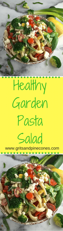 Garden Pasta Salad is loaded with all things good for you like squash, zucchini, carrots, edamame, scallions, broccoli, and cherry tomatoes and it's delicious!