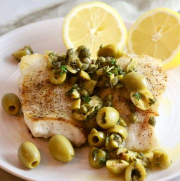 Mediterranean Grouper Fillet with Olives and Capers