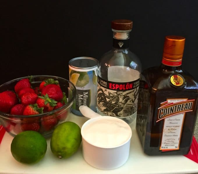 Strawberry Margarita Ice Pops ingredients including tequila, triple sec, limeade and strawberries