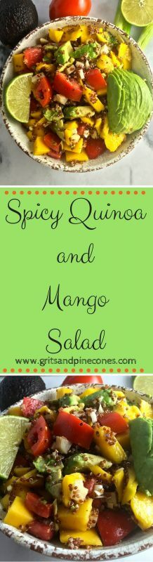 Spicy Quinoa and Mango Salad is a perfect cool, healthy, light and refreshing choice for our hot summer weather. Whether you serve this salad as a main entree or as a side dish, this versatile dish is healthy and full of summer's bounty. www.gritsandpinecones.com