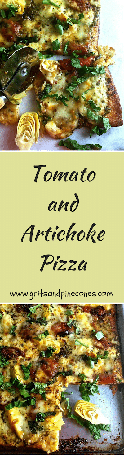 Tomato and Artichoke Pizza - fresh, hot, delicious and oozing with melted mozzarella cheese! A tasty, quick and easy homemade pizza recipe!