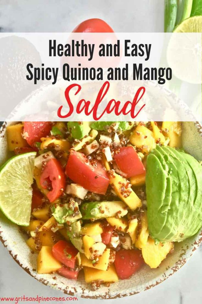 I know the calendar says fall, but easy Spicy Quinoa and Mango Salad is a perfect cool, light and refreshing, and healthy choice for our still warm weather. #salad, #easyrecipe, #healthy, #healthyrecipes, #healthyfood