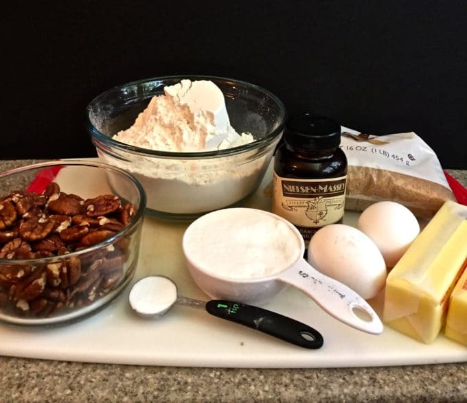 Easy Butter Pecan Cookies Ingredients on a cutting board