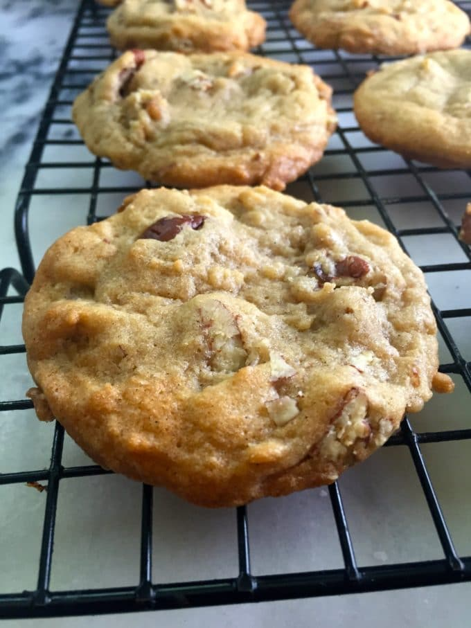 Easy Butter Pecan Cookies cooling on a wire rack