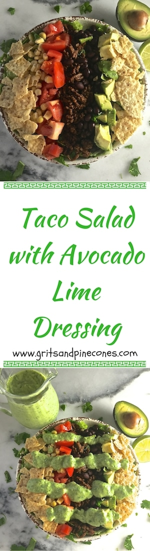 This beef taco salad is both delicious and healthy! It's also quick and easy to make and features a yummy avocado lime dressing that your family will love.